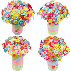Image 3 - DIY ремесло, домашнее украшение, Детские войлочные лепестки, образовательный букет, детский сад, детская игрушка, кнопка, цветочный набор, случайный цвет