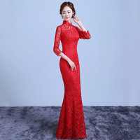 579276bac720e2 Red Lace Tailing Modern Qipao Long Cheongsam Chinese Traditional Dress  Vintage Hollow Wedding Qi Pao Vestido