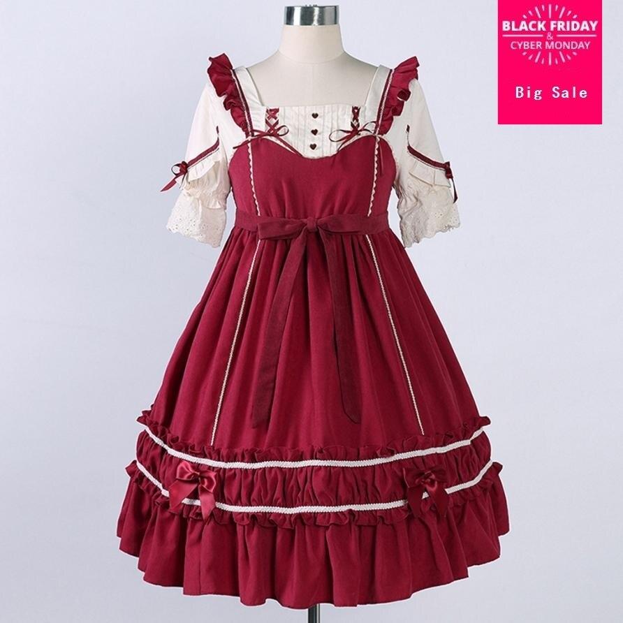 Japonais à manches courtes op taille haute épissure faux deux pièces lolita robe femme mode botton bow décorer robe de flocon de neige L633