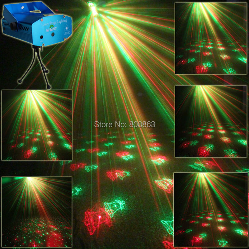 Mini R&G Laser 6 Christmas Patterns projector Club Bar lighting Dance Disco home party Xmas DJ Stage Light show Y6 + Tripod 3 lens 36 patterns rg blue led new year christmas party laser projector stage lighting dj disco bar party show stage light