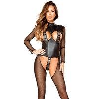 Black Erotic Lingerie Catsuits Women Jumpsuit Halter Fishnet Hook And Eye Belt Transparent Mesh Patchwork Fetish Sexy Bodysuits