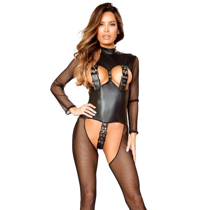 Noir érotique Lingerie catsuit femmes combinaison licou résille crochet et oeil ceinture Transparent maille Patchwork fétiche Sexy body