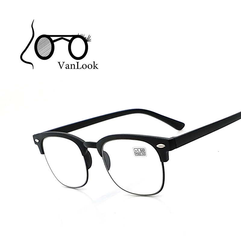 Kvinner Les briller Menn Oversized Billige Squared Eyeglasses +1.00 +1.50 +2.00 +2.50 +3.00 +3.50 +4.00 Aspheric Matt Black Brown