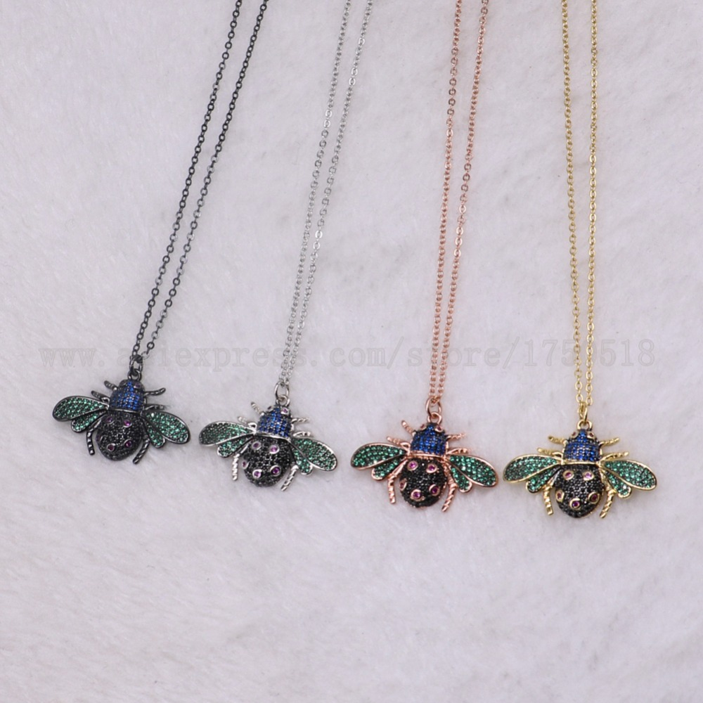 5 strands bugs necklace bugs insects for lady Bee pendants small size jewelry 18 mix color necklace pets beads 3219