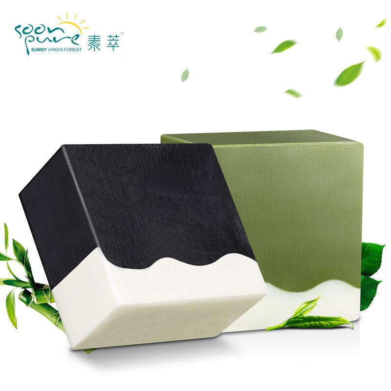 SOONPURE New Bamboo Charcoal Matcha Facial Soap Cleanser