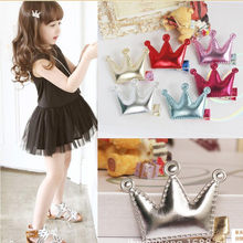 2PCS Kids Hair Clips Hair Clips Girls Party Princess Leather Hair Style Buckle(China)