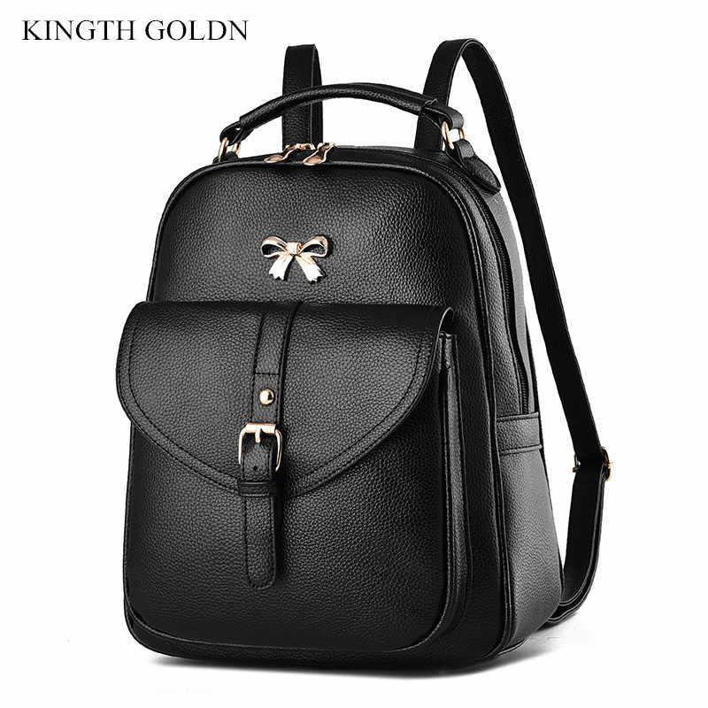 7538808331e0 KINGTH GOLDN Высокое качество женщины рюкзак искусственная кожа рюкзаки для  девочек-подростков Женский школьная сумка