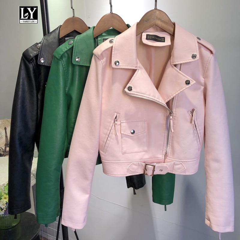 Ly Varey Lin Women Faux Soft Leather Jacket Coat Turndown Collar Short Jacket Female Pu Motorcycle Epaulet Zipper Outerwear