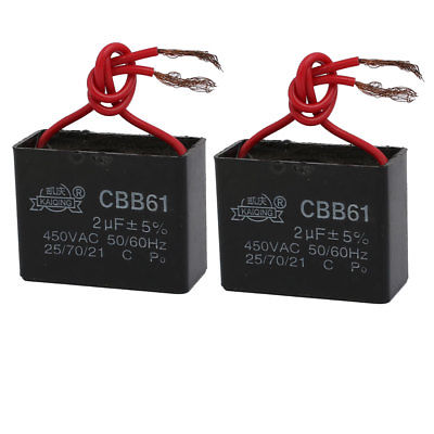 2PCS CBB61 AC 450V 2uF Two Wired Ceiling Fan Motor Run Capacitor