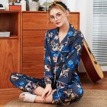b8aea3e441 SSH0317 2019 Neue Pyjamas Frauen Satin Seide Nachtwäsche Luxus Weiche  Seidige 2 PCS Pyjama Set Damen