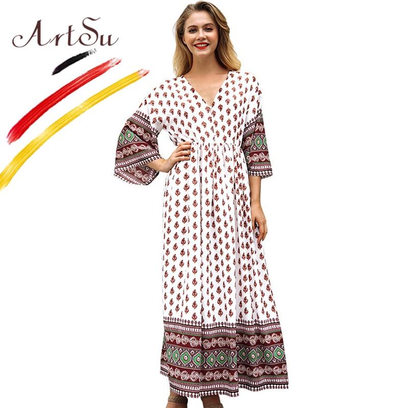 94bc801ff63fd3d Арцу Весна Богемия цветочный принт платье для женщин три четверти Flare  рукавом повседневное свободные Vestido v