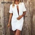 Vestlinda oco out sexy branco chiffon dress mulheres verão praia vestidos de festa de manga curta casual solto curto mini dress