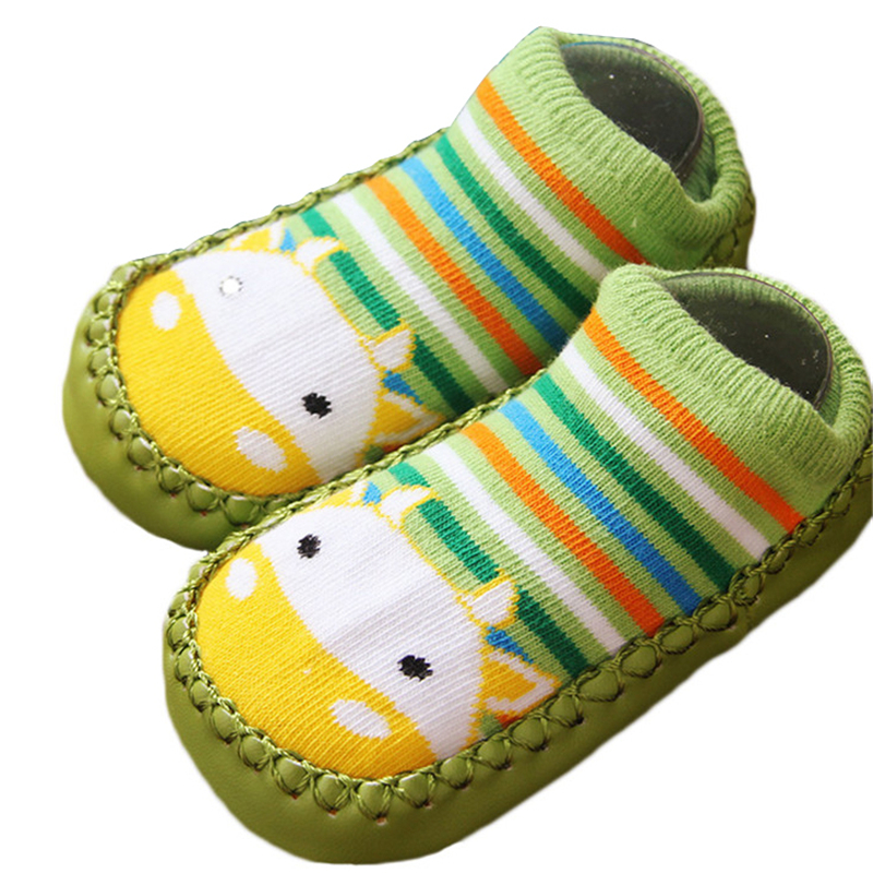 Fashion Baby Socks Newborn Baby Shoes Socks Cartoon Infant Baby Kids Indoor Floor Socks PU Leather Sole Non Slip Thick Socks