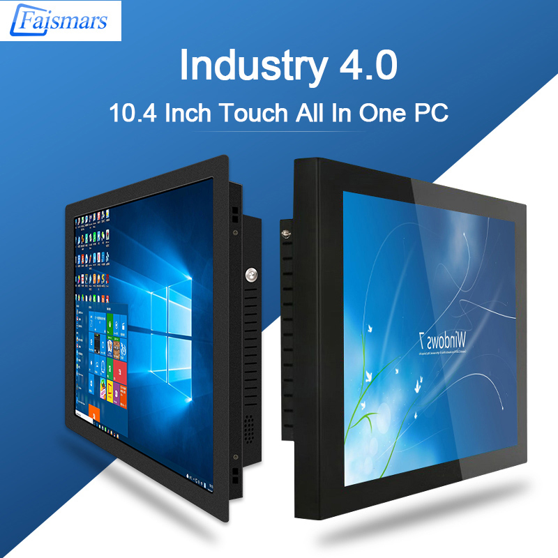 Faismars 10.4 Inch 1024x768 Intel J1900 2.0GHz All In One PC Capacitive/ Resistive Touch Industrial Panel PC Desktop Computer