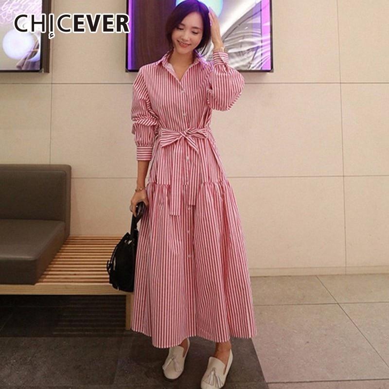 CHICEVER Autumn Striped Dresses For Women Loose Oversize Long Sleeve Hem Asymmetrical Bandage Dress Female Fashion