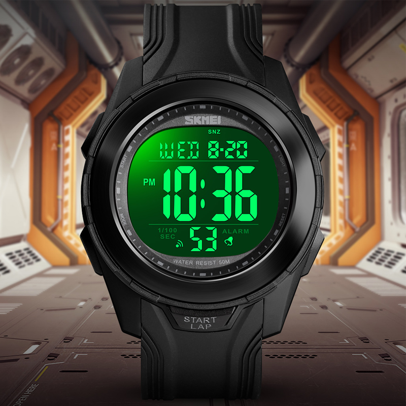 Men's Watch Digital Stopwatch Chronograph Sport Wristwatch Fashion Mens Watches Bracelet Top Brand <font><b>SKMEI</b></font> Alarm Clock Waterproof image