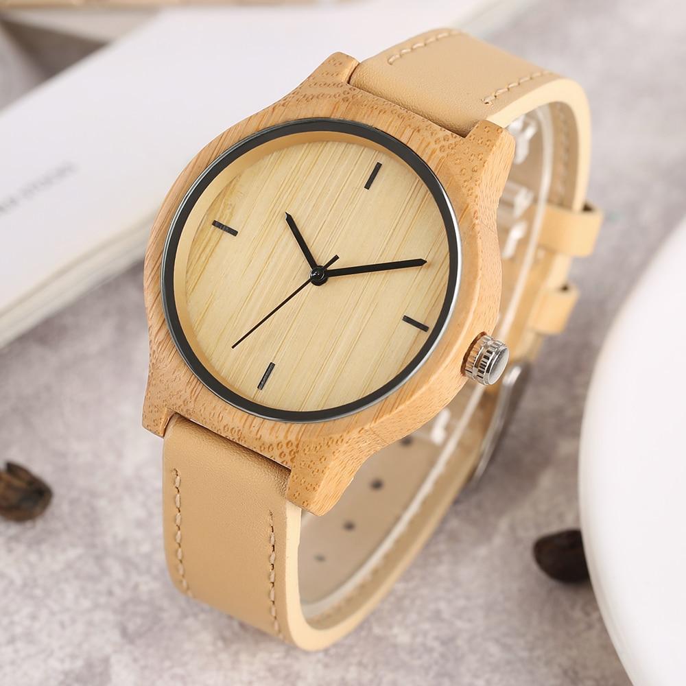 Uhr Frauen Einfache Damen Natur Bambus Holz Quarz Armbanduhren Trendy - Damenuhren