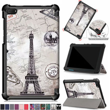 New arrival Painted Slim Magnetic PU Leather Case For lenovo tab e7 tb-7104f
