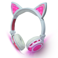 Cost Effective Cat Ear Headphones LED Ear Headphone Cat Earphone Flashing Glowing Headset Gaming Earphones For