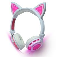 Cost Effective Cat Ear Headphones LED Ear Headphone Cat Earphone Flashing Glowing Headset Gaming Earphones For