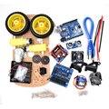Nova Fuga de rastreamento Motor Inteligente Robot Car Kit Chassis Velocidade Encoder Caixa de Bateria 2WD Ultrasonic módulo Para Ar-du-kit ino