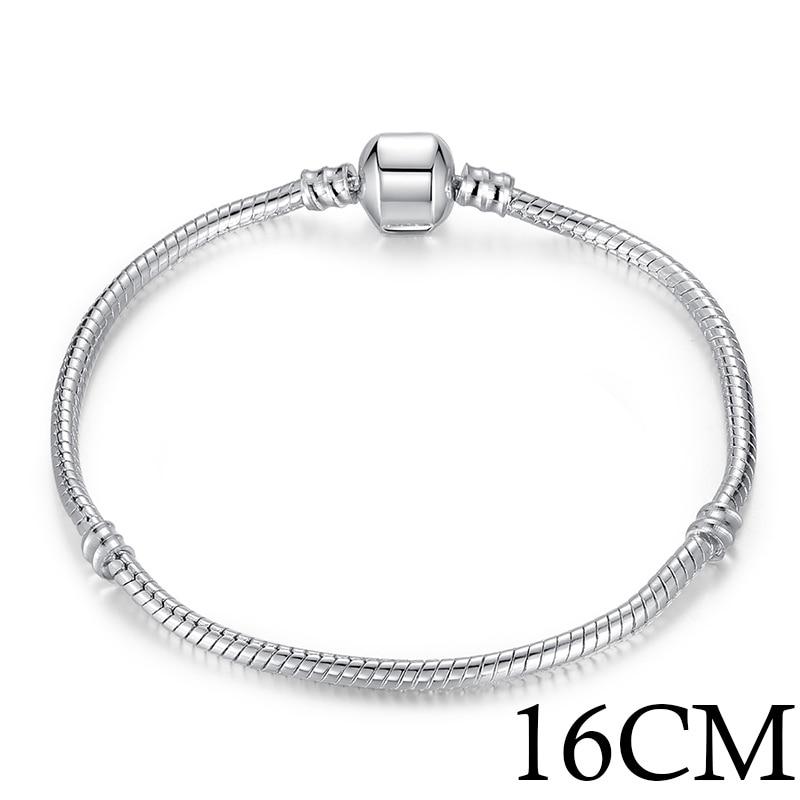 5 стиль 925 серебряных любовь цепи змейки и браслет 16 см- 21 см браслеты омар PA1104 - Окраска металла: 16cm Length