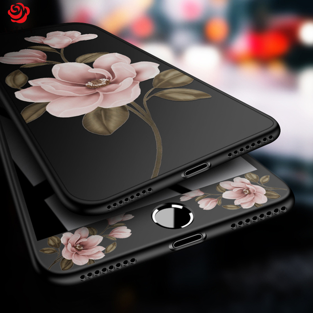 ASINA 360 Full Cover Case For iPhone 8 Floral Flower Pattern Cases For iPhone 6 6s 7 8 Plus X Black Protective Bumper Fundas