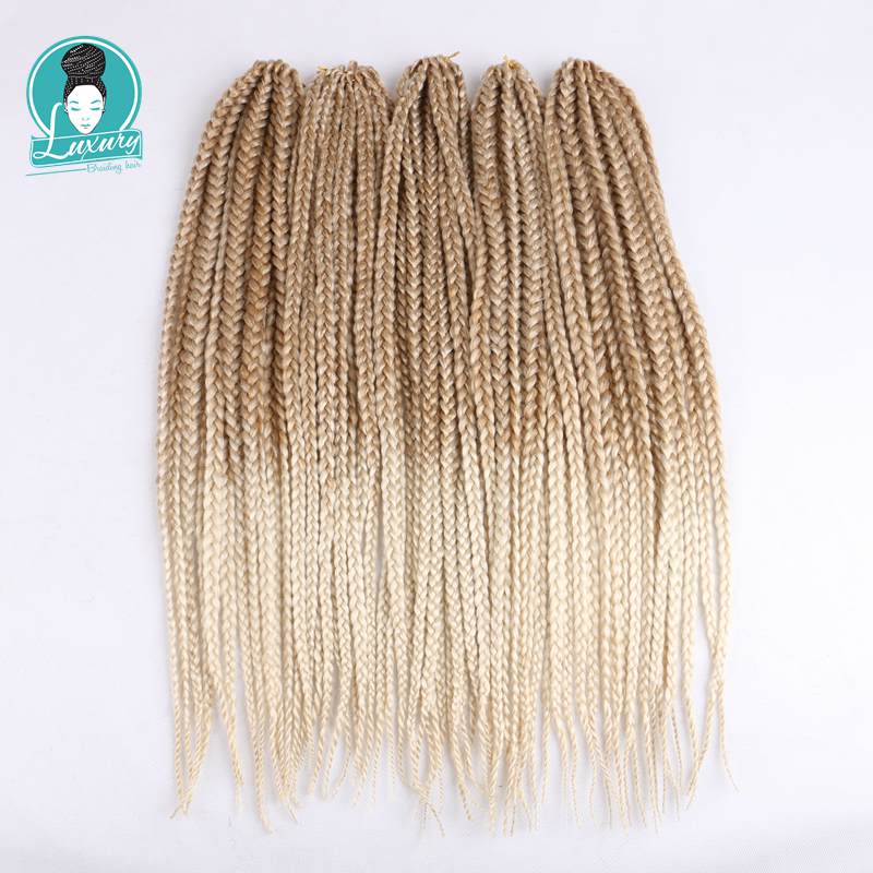"Lyx för flätande Syntheic Hair Ombre Lila Brun Blond 24 ""12 Strands / pc 6st / lot 110g Jumbo Crochet Box Braids"
