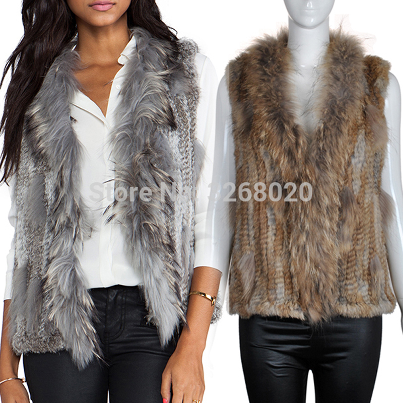 New Real Classical Knitted Rabbit Fur Vest Gilet With Raccoon Fur Collar Lady Wholesale Vest
