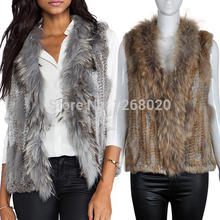 New Real Classical Knitted Rabbit Fur Vest Gilet with Raccoo