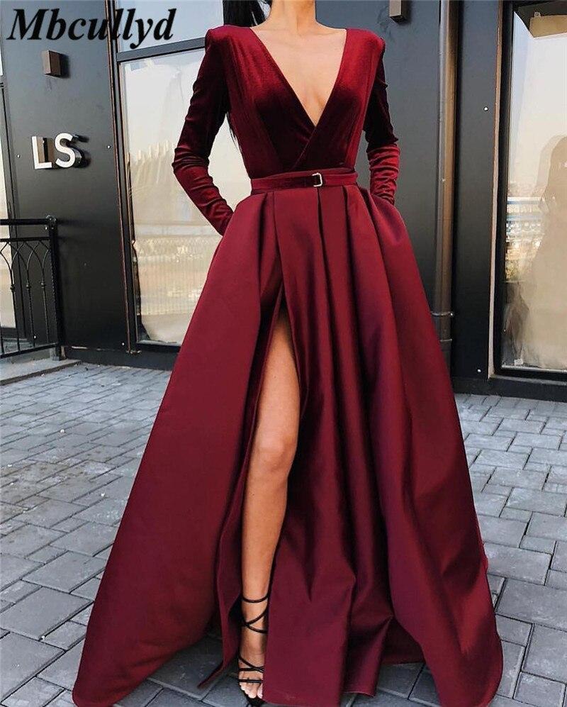 Mbcullyd Burgundy Velvet   Prom     Dresses   2019 Long Sleeves Evening Gowns Front Split Floor-Length Chic Arabic robe de soir
