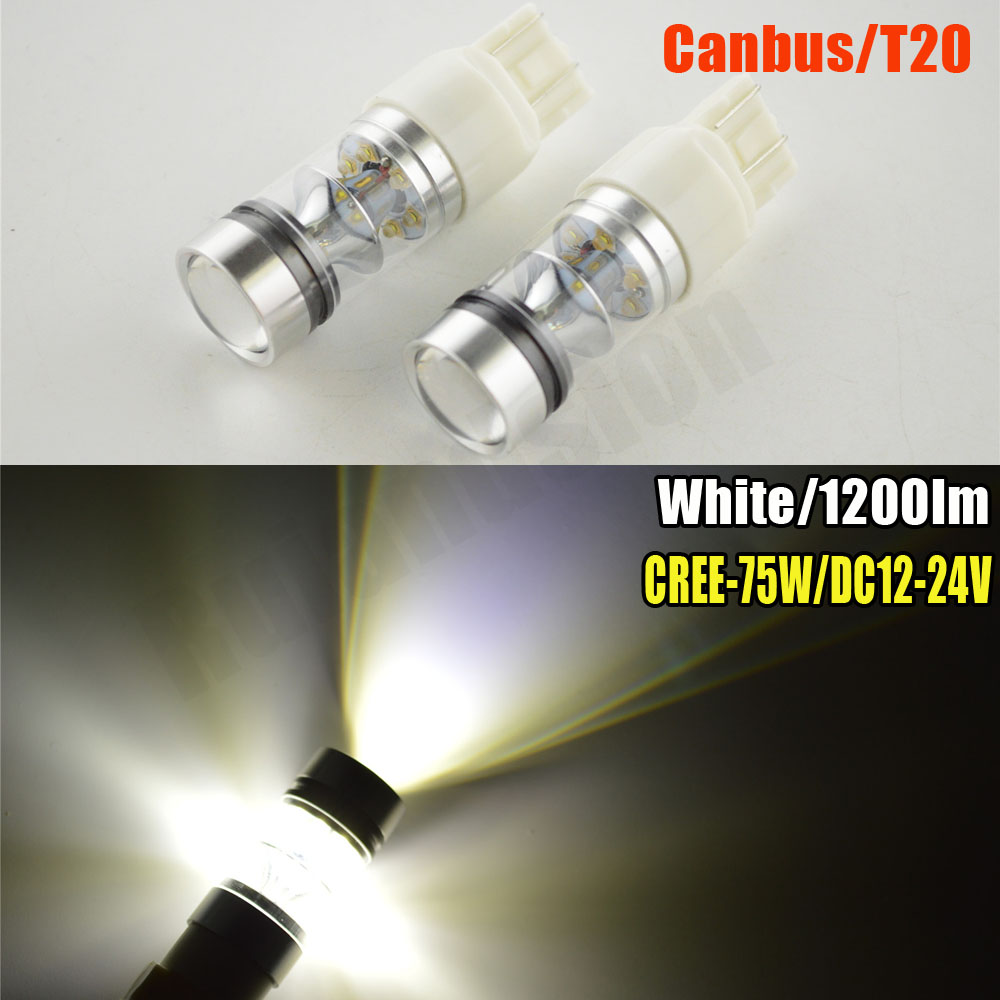 2pcs Red White Amber High Power Max 75W CREE LED 7443 T20 7444NA LED Bulbs For Turn Signal Lights, Tail Lights, Brake Lights