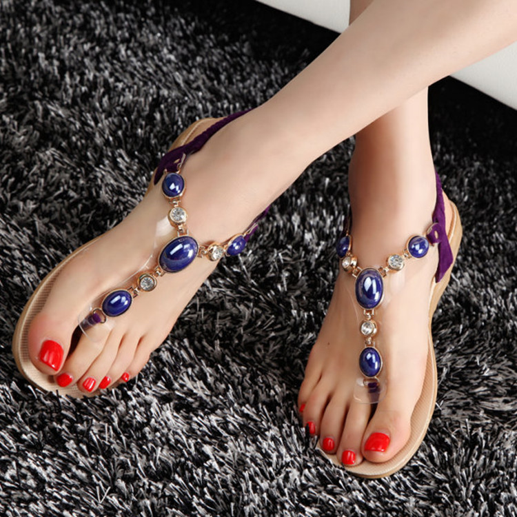 2016 Women Bohemian Beaded Rhinestone Belt Women s beaded flat Sandals  Heels Flip Shoes 782c927cc9b7