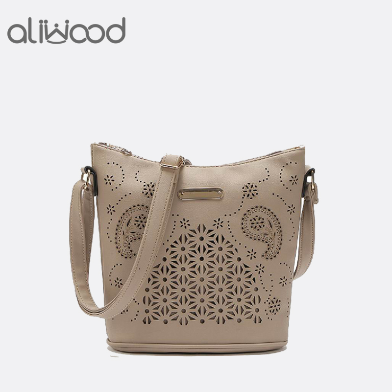 Aliwood New Hot Sale Hollow Out Bucket bag Women's Summer Handbags PU Leather Female Shoulder bag Messenger bag Crossbody Bags