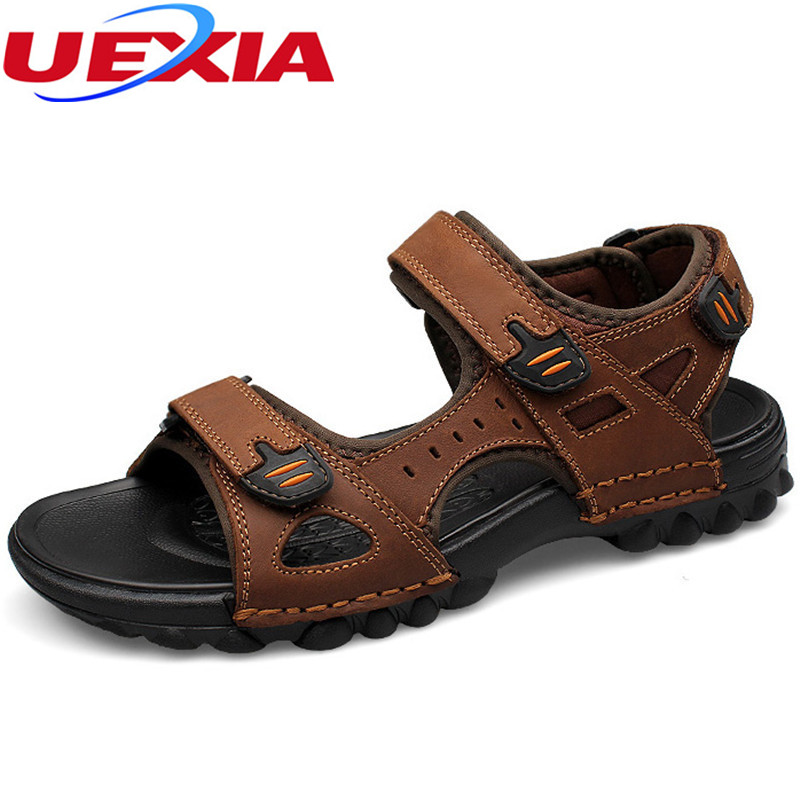Brand New Fashion Leather Sandals Summer High Quality Casual Beach Cut outs Breathable Men Shoes Non