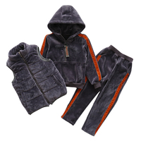 Boys Girls Clothing Sets For Winter Outfits Cotton Thick Waistcoats & Hoodies & Plus Velvet Pants 3pcs Unisex Kids Tracksuits