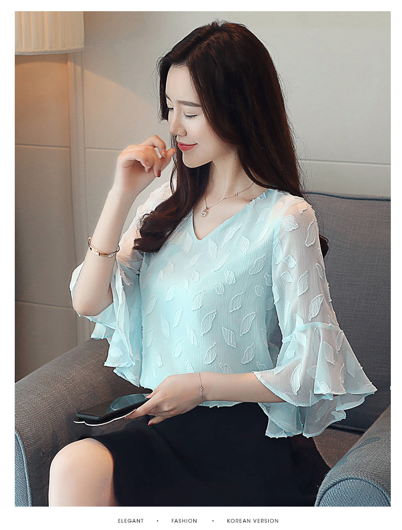 Dingaozlz Flare sleeve Women shirt New Fashion Summer Tops Korean Ruffles Chiffon blouse Casual clothing Blusa