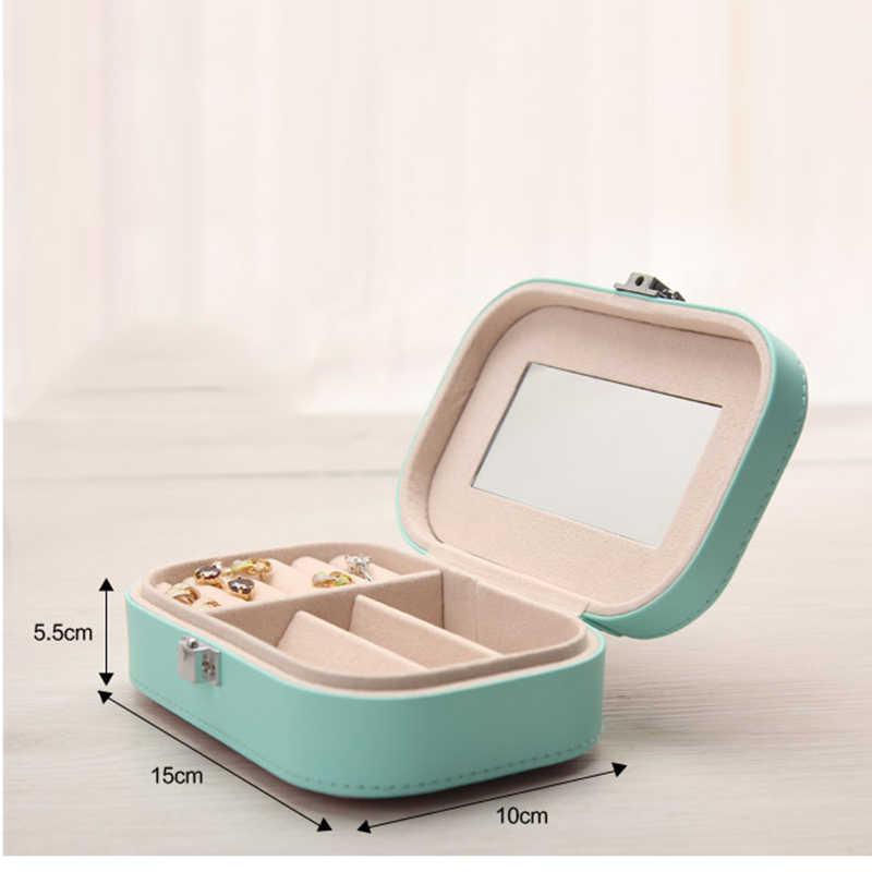 Korean Floral Print Jewelry Box Organizer Travel Portable Leather Ring Bracelet Earring Display Storage Box Case with Mirror