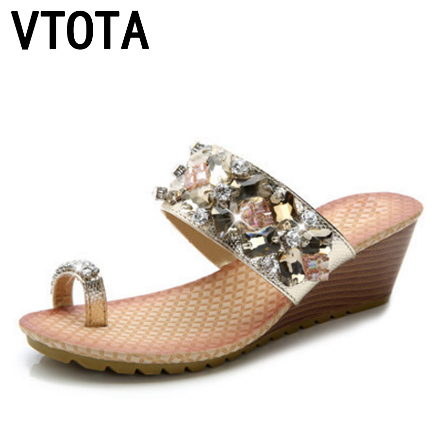 VTOTA Women Slippers Open Toes Wedges Shoes Woman Fashion Crystal Slides Ladies Shoes Tenis Feminino Casual Summer Shoes G25 women sandals 2017 summer shoes woman wedges fashion gladiator platform female slides ladies casual shoes flat comfortable