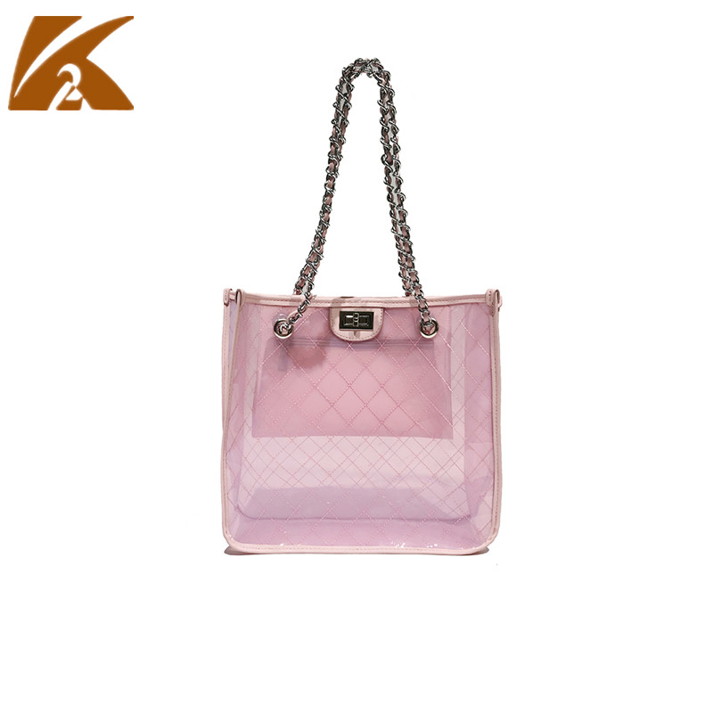 2018 Transparent Jelly Tote Bags Handbags Woman Lingge Shoulder Bag Top-handle Hand Bag Women Summer Beach Clear PVC Bag Handbag
