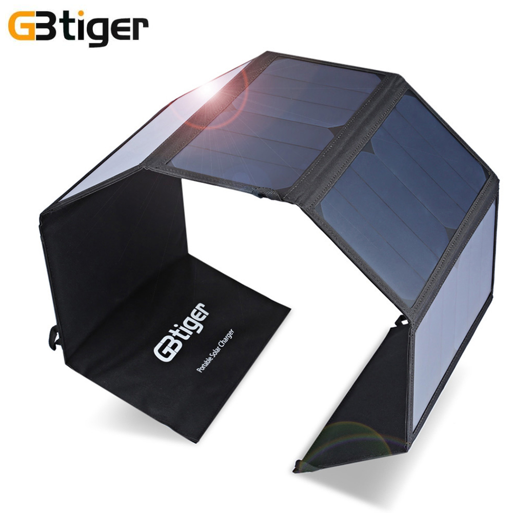 GBtiger 40W Dual Outputs Portable Sunpower Solar Charger Outdoor Solar Panel Water Resistant Charger for Phones Tablet Computer gbtiger black