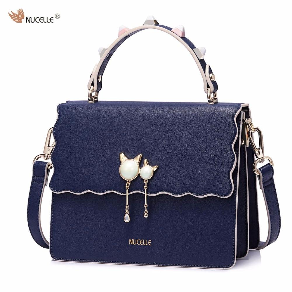 NUCELLE Brand Autumn New Design Fashion Pearls Rivets PU Leather Women Handbag Lady  Shoulder Cross Body Bag