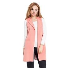 Autumn Long Woolen Cloth Vest Leisure Jacket Wool Coat Women Fashion Outwear Casual Vests Sleeveless Open Front Brand Femme S229