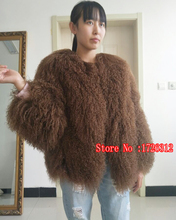 2017 Womens real lamb fur coat short Sheep skin jacket Mongolia Sheep Fur coat beach wool