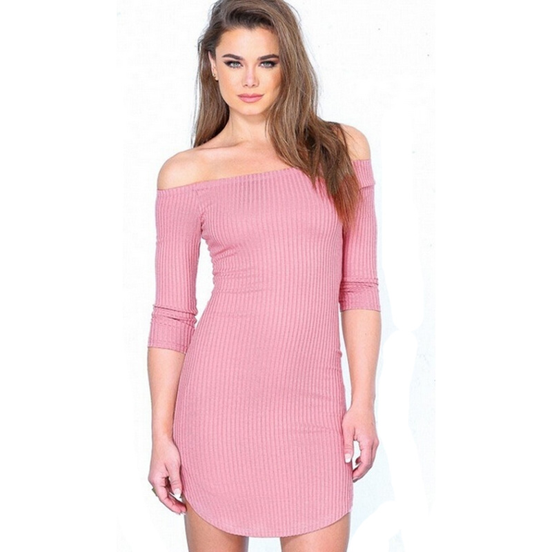 Domeef  New Knitted Dress Retro Long Sleeve delicate dress Women Warm Casual Women trendy Clothing Off Shoulder  Sweater simple