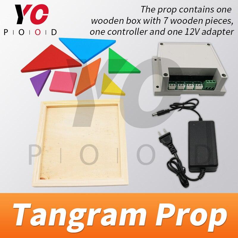 Tangram Prop YOPOOD Escape Room recueillir toutes les pièces de couleur dans la boîte en bois pour trouver des puzzles et débloquer la serrure EM - 4