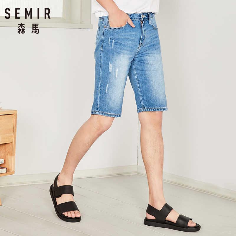 SEMIR летние джинсовые штаны для мужчин, новые повседневные штаны для студентов, Мужские штаны в стиле ретро, красивые