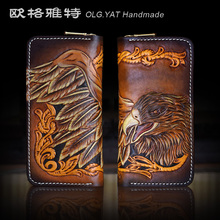 HK OLG.YAT men wallets handmade wallet womens handbag eagle Art Purse genuine leather Hand-carved wallet retro bags