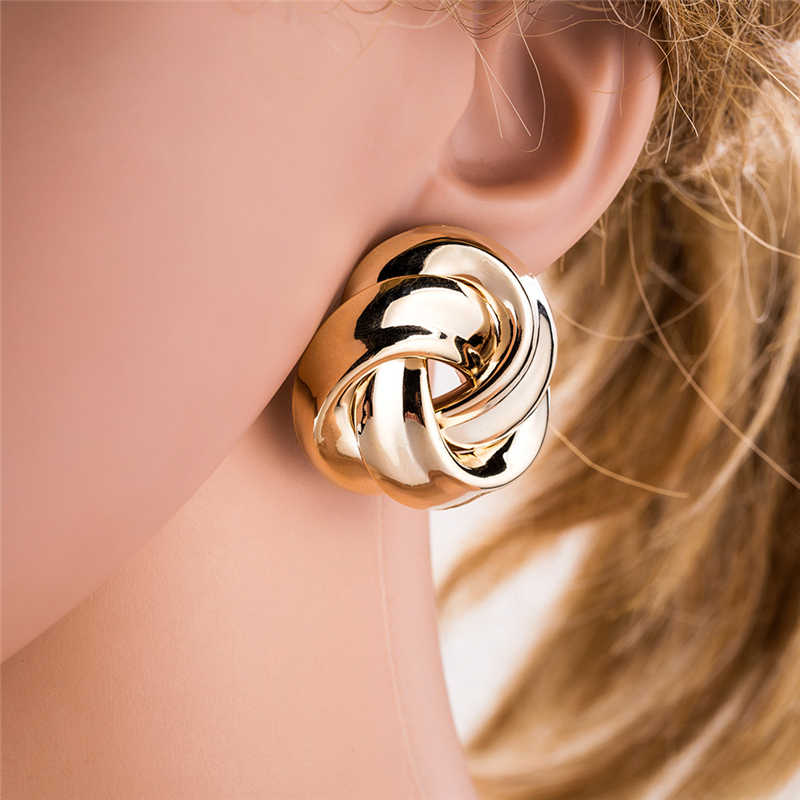 Gold Silver Stud Earrings for Women 2019 Earings Fashion Jewelry Accessories Korean Round Geometric Punk Minimalist Earrings