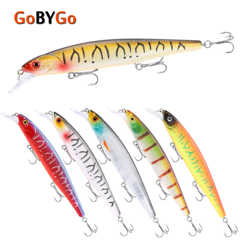 GoByGo 1PCS Minnow Floating Fishing Lure 14cm 23g Hard Wobblers Crankbait 3D Eyes Bait Artificial Trout Pike Carp Fishing Tackle